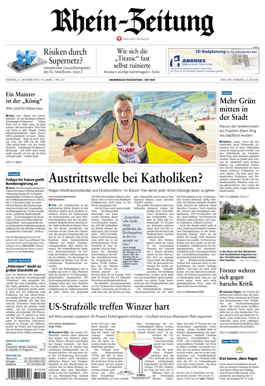 Rhein-Zeitung Koblenz & Region vom Samstag, 05.10.2019