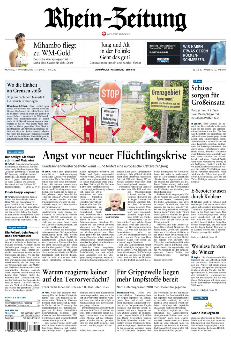 Rhein-Zeitung Koblenz & Region vom Montag, 07.10.2019