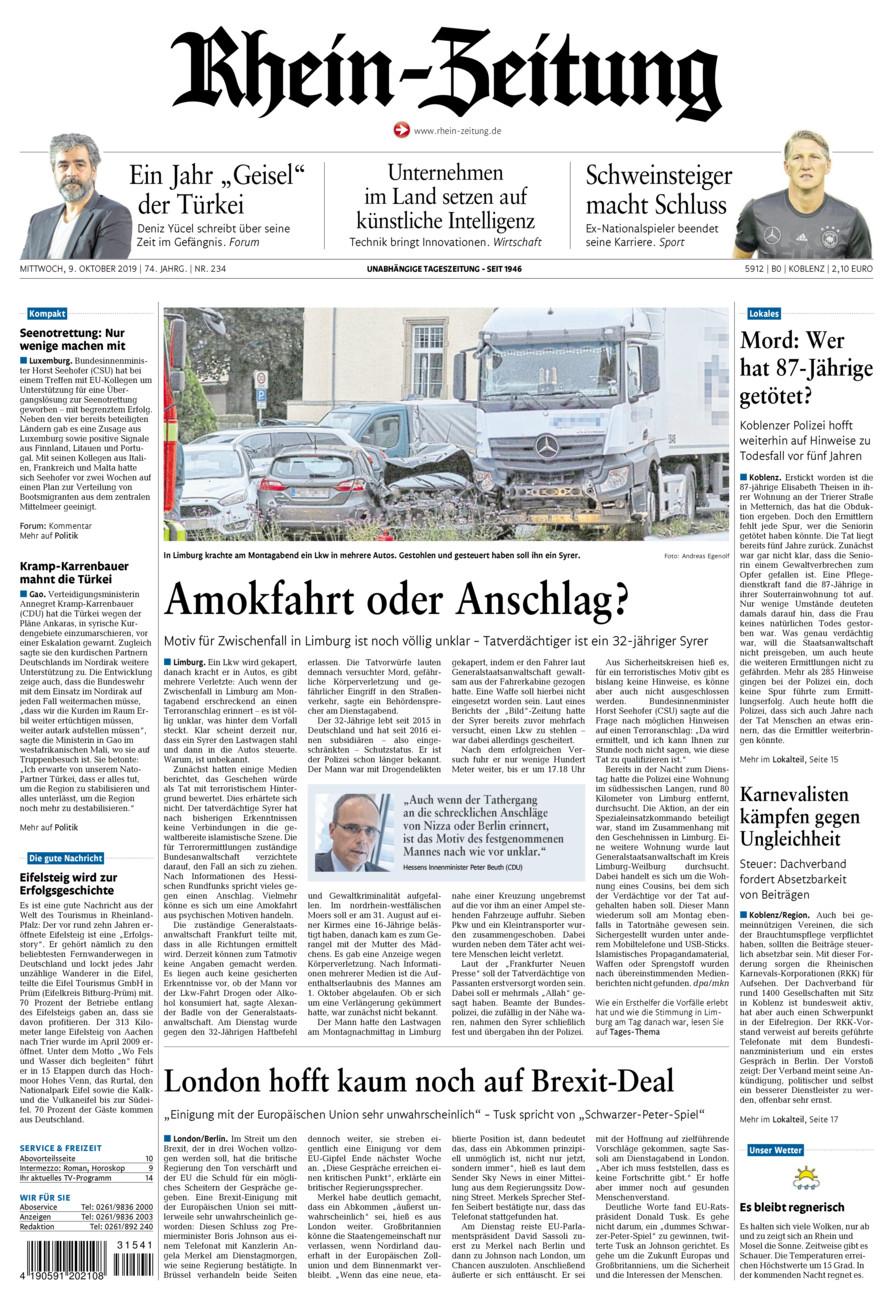 Rhein-Zeitung Koblenz & Region vom Mittwoch, 09.10.2019