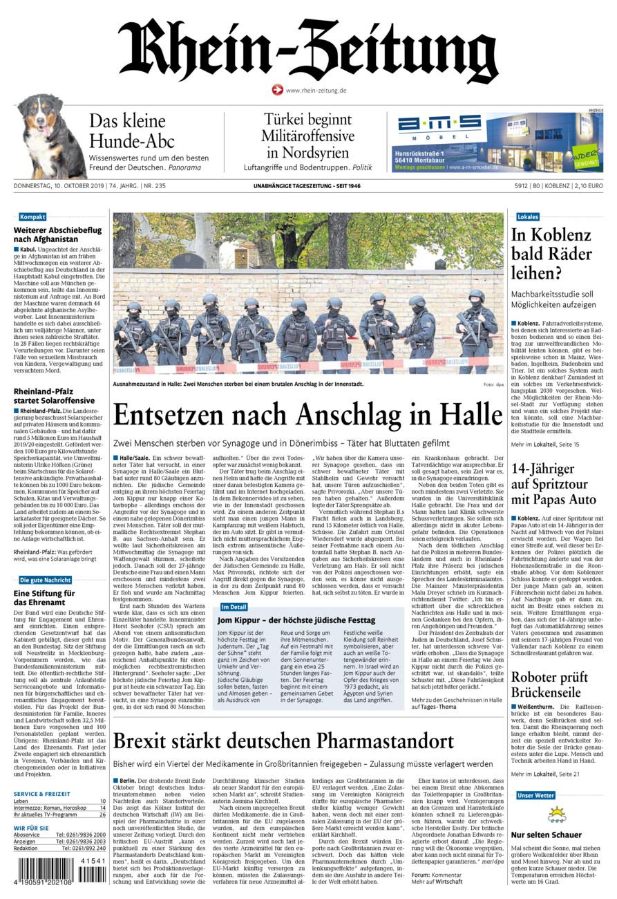 Rhein-Zeitung Koblenz & Region vom Donnerstag, 10.10.2019