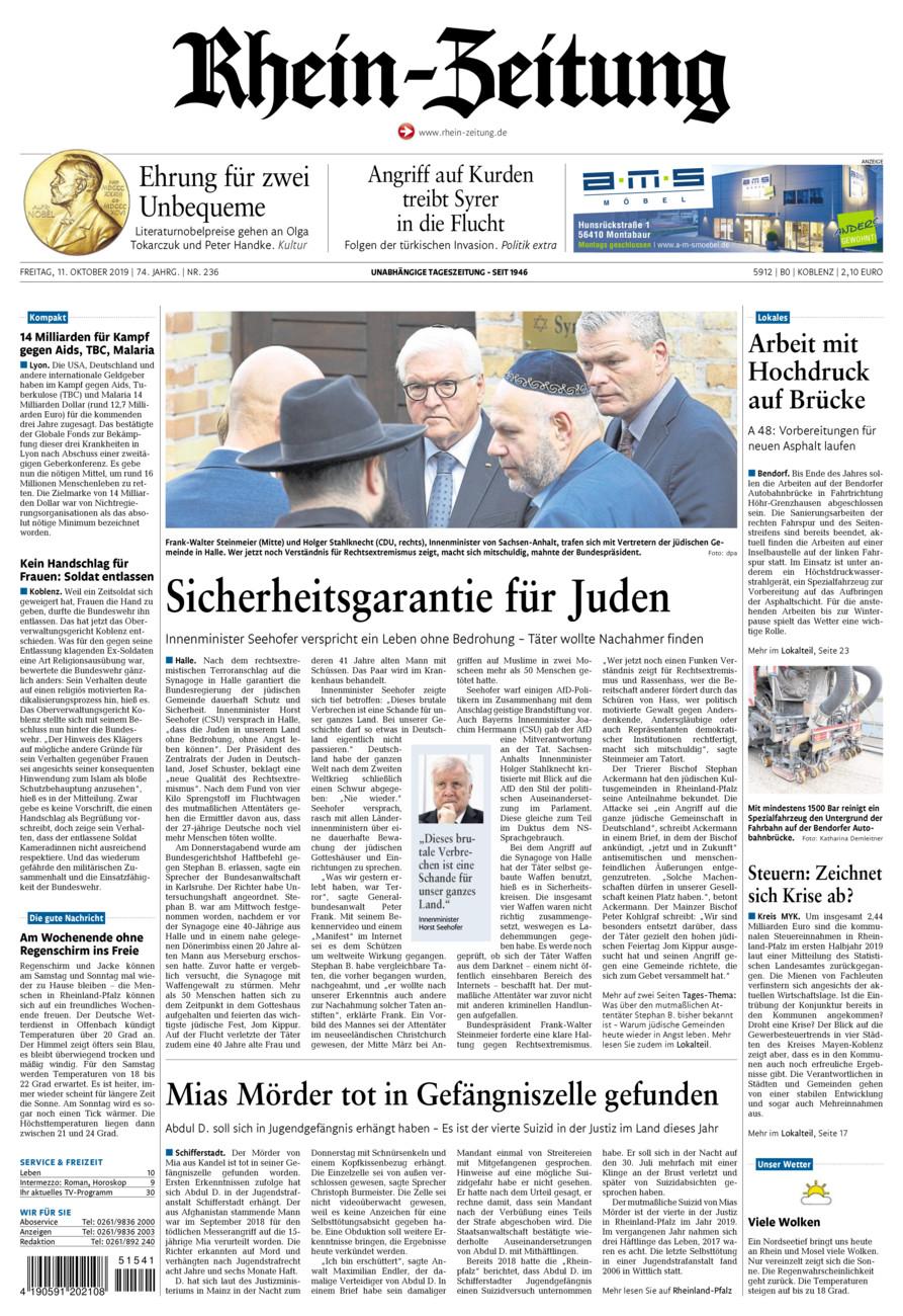 Rhein-Zeitung Koblenz & Region vom Freitag, 11.10.2019