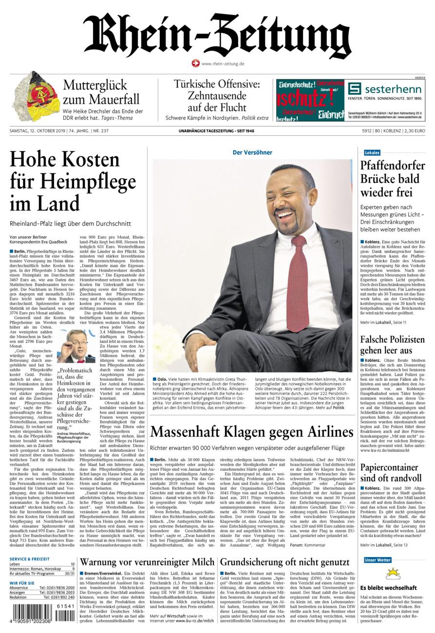 Rhein-Zeitung Koblenz & Region vom Samstag, 12.10.2019