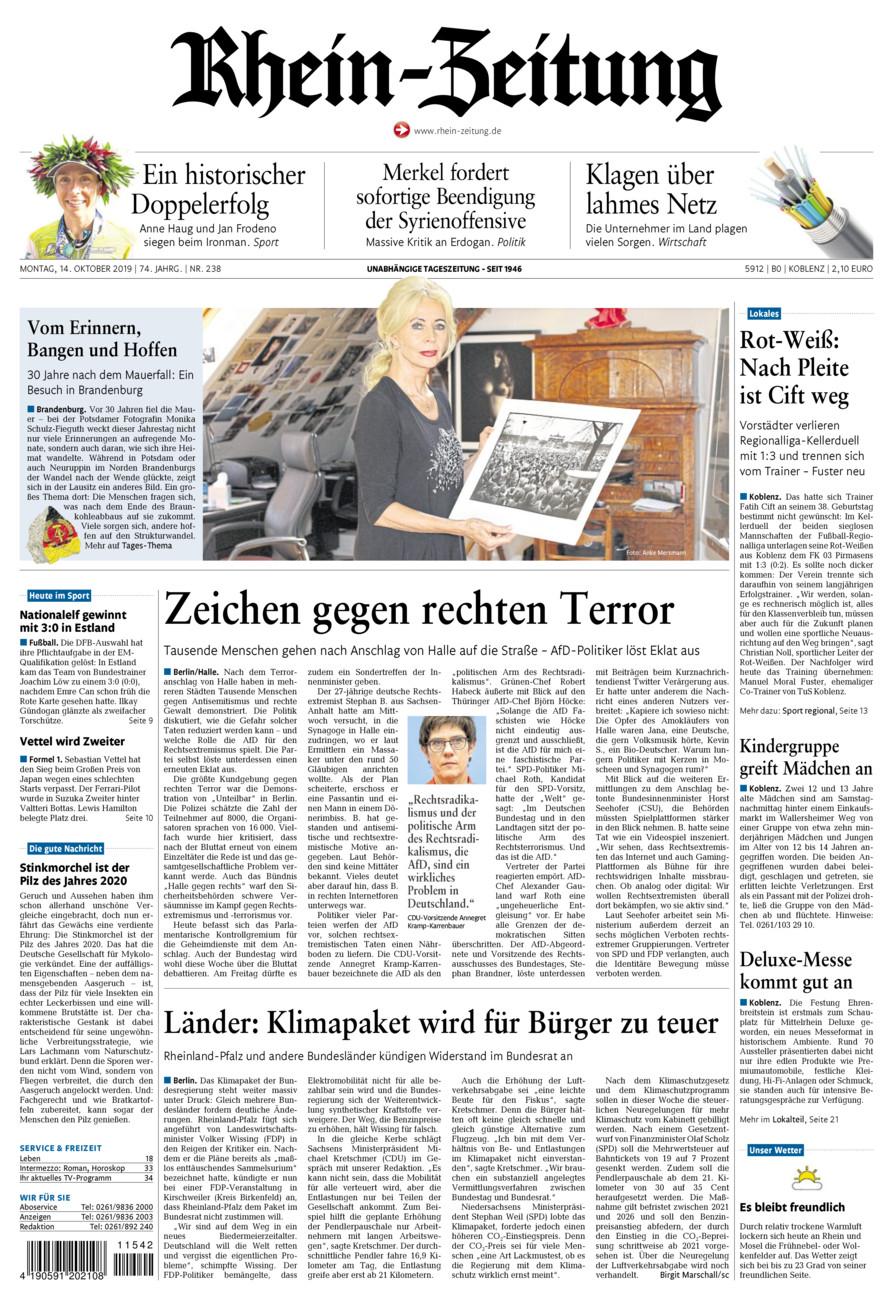 Rhein-Zeitung Koblenz & Region vom Montag, 14.10.2019