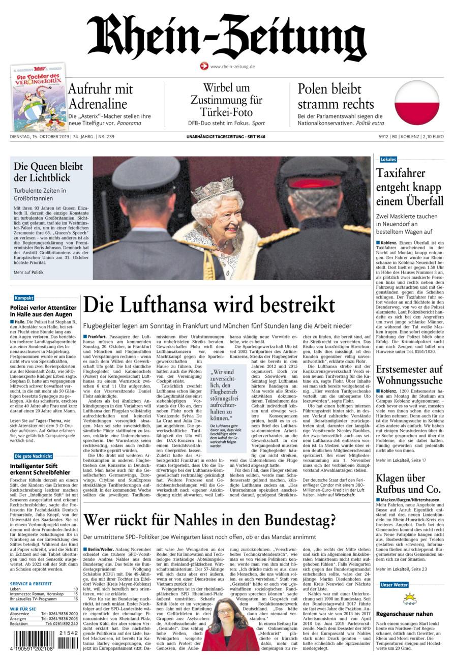 Rhein-Zeitung Koblenz & Region vom Dienstag, 15.10.2019