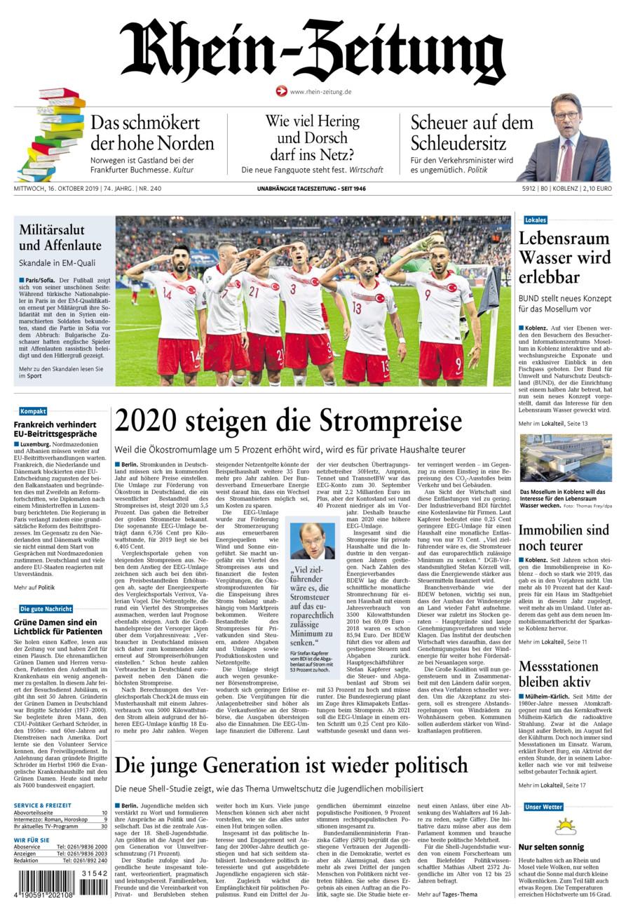 Rhein-Zeitung Koblenz & Region vom Mittwoch, 16.10.2019