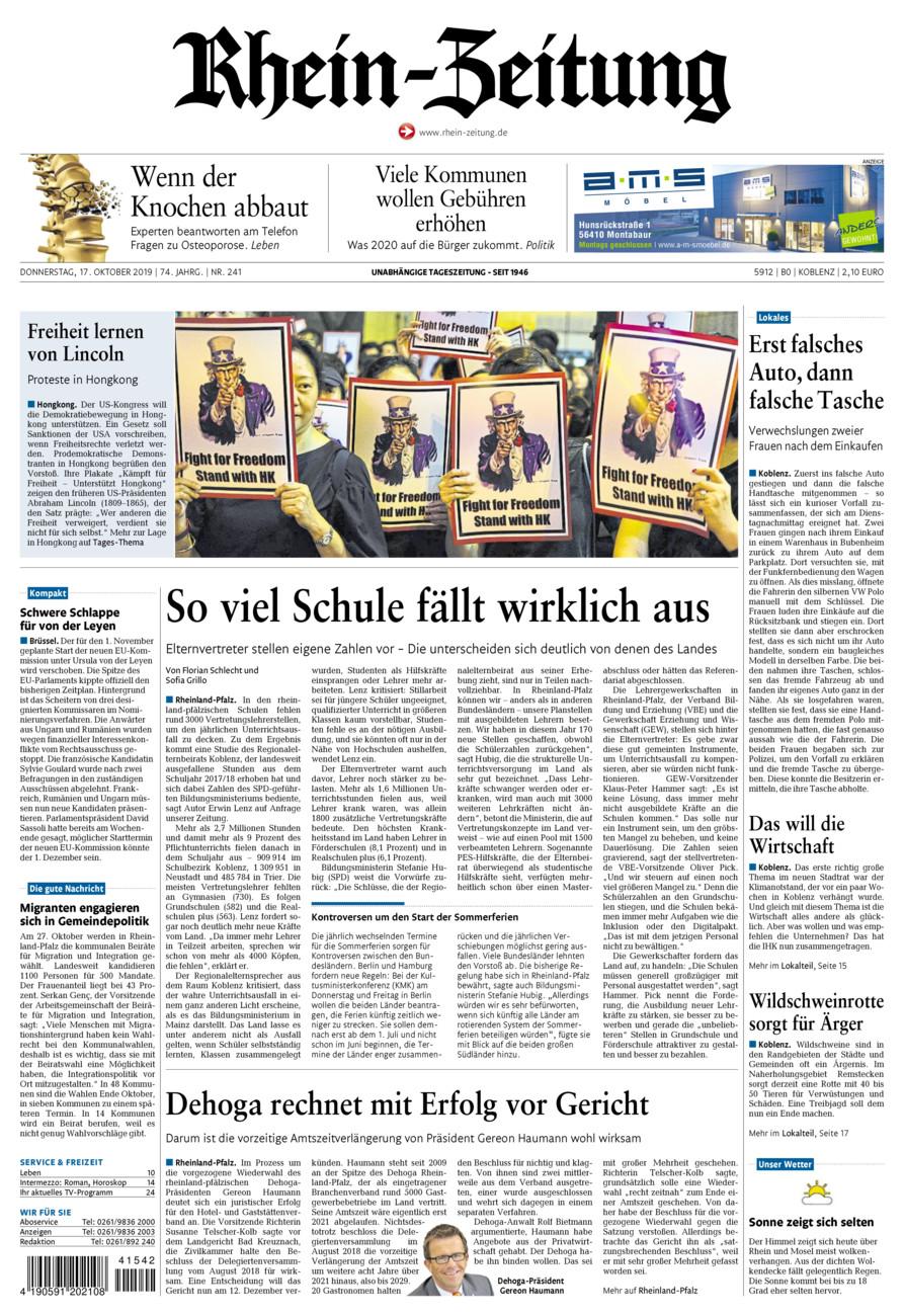 Rhein-Zeitung Koblenz & Region vom Donnerstag, 17.10.2019