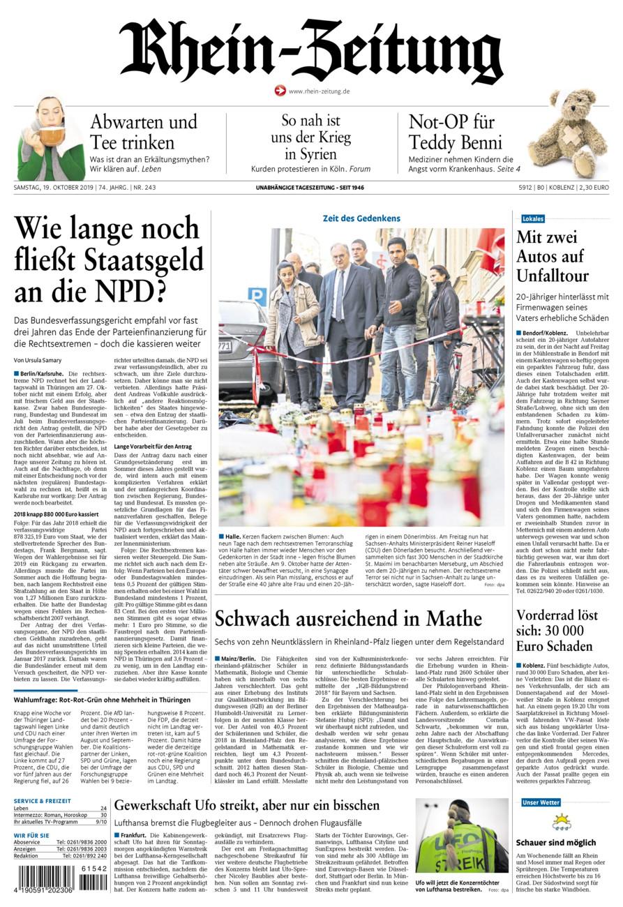 Rhein-Zeitung Koblenz & Region vom Samstag, 19.10.2019