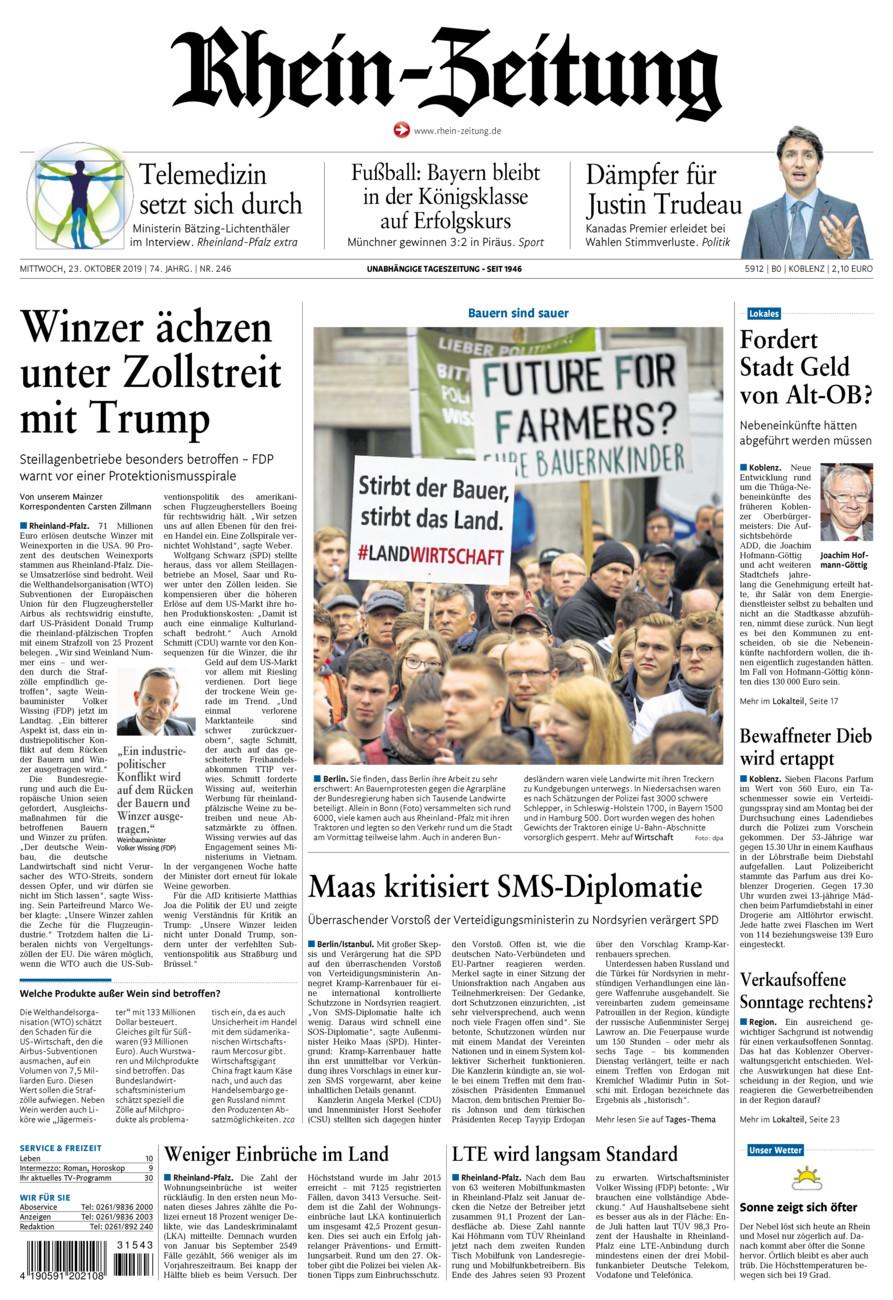 Rhein-Zeitung Koblenz & Region vom Mittwoch, 23.10.2019