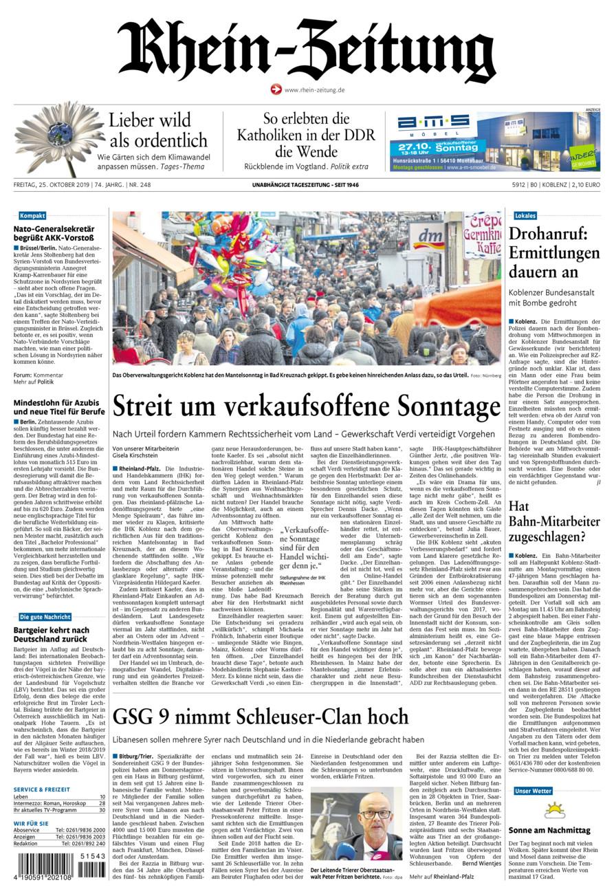 Rhein-Zeitung Koblenz & Region vom Freitag, 25.10.2019