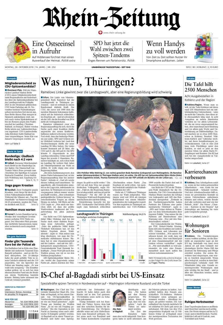 Rhein-Zeitung Koblenz & Region vom Montag, 28.10.2019