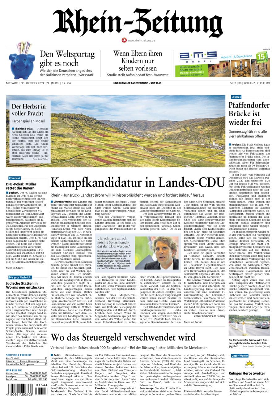 Rhein-Zeitung Koblenz & Region vom Mittwoch, 30.10.2019