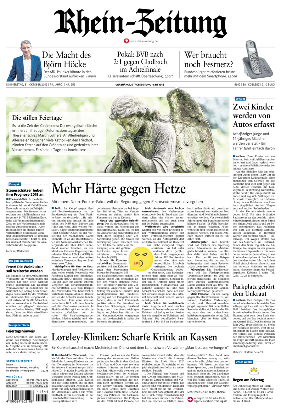 Rhein-Zeitung Koblenz & Region vom Donnerstag, 31.10.2019