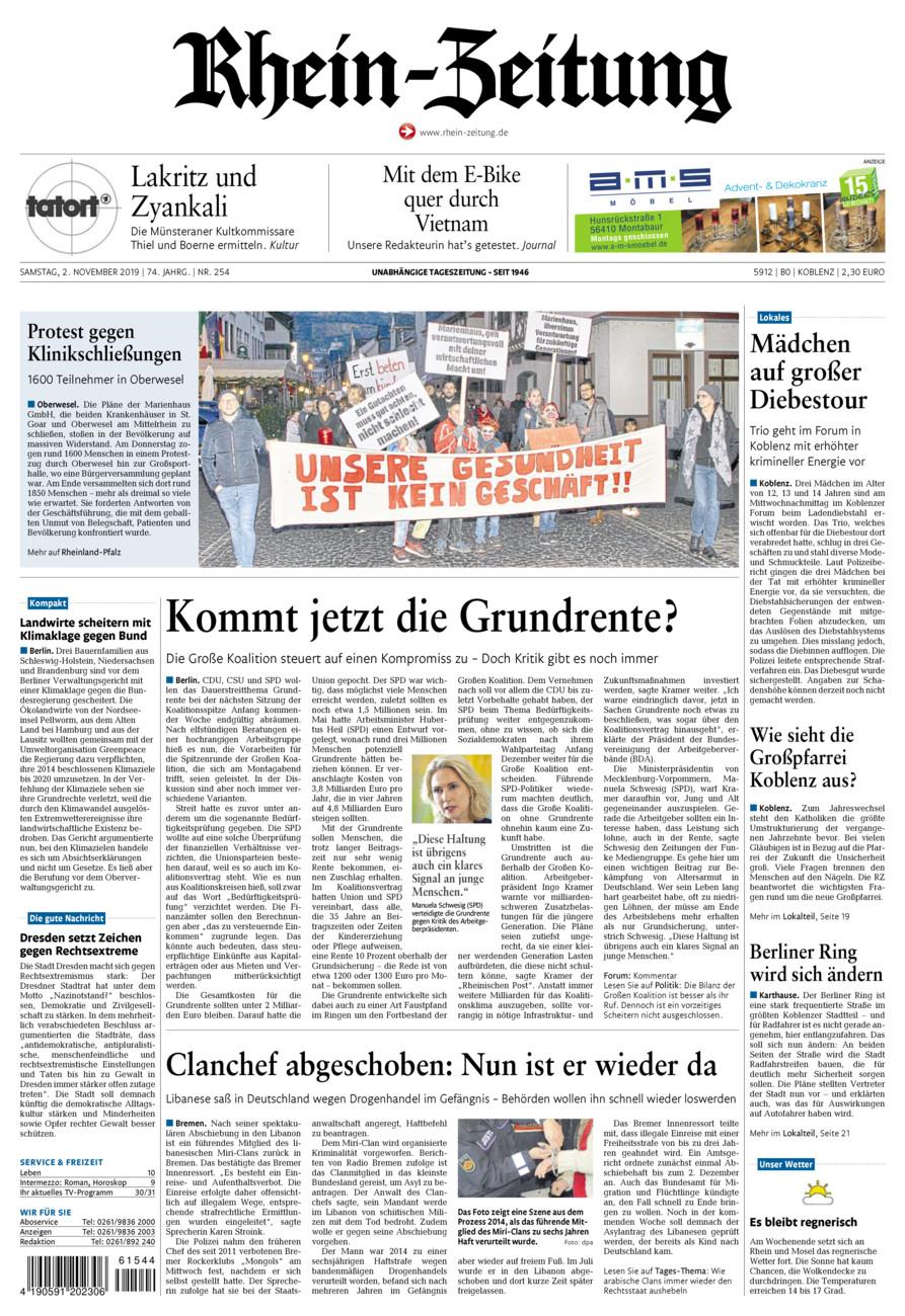 Rhein-Zeitung Koblenz & Region vom Samstag, 02.11.2019