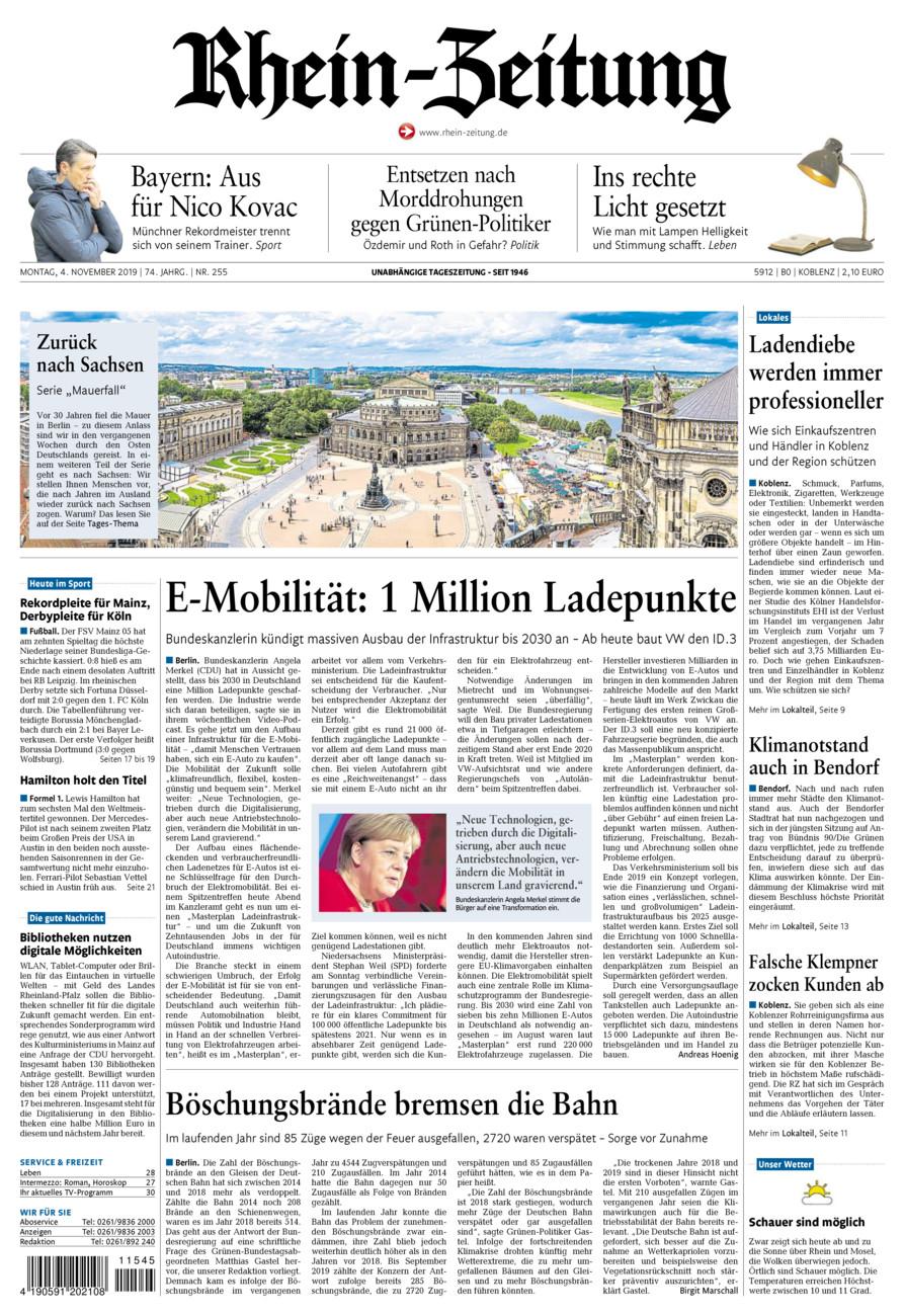 Rhein-Zeitung Koblenz & Region vom Montag, 04.11.2019