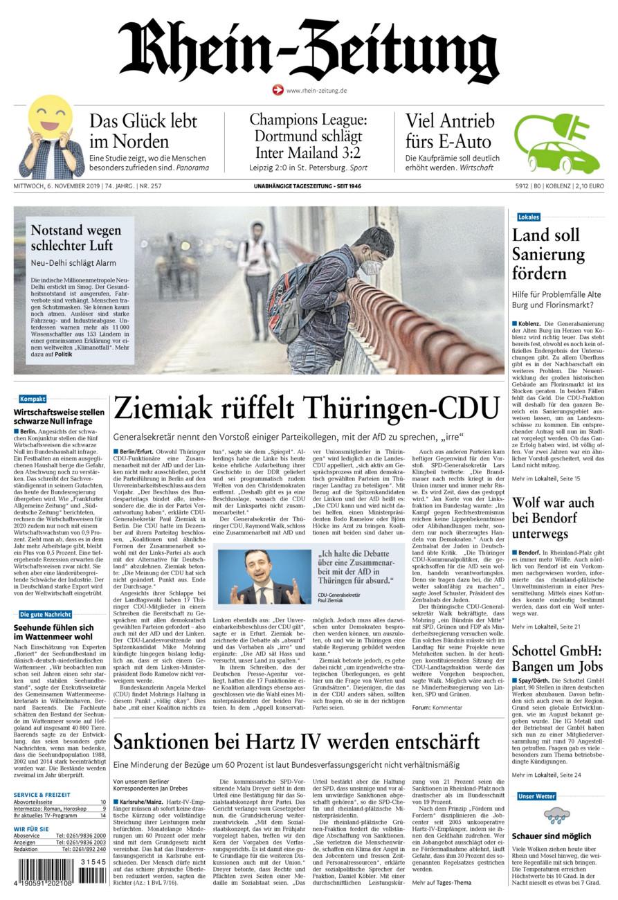 Rhein-Zeitung Koblenz & Region vom Mittwoch, 06.11.2019