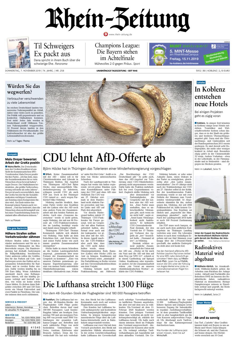 Rhein-Zeitung Koblenz & Region vom Donnerstag, 07.11.2019