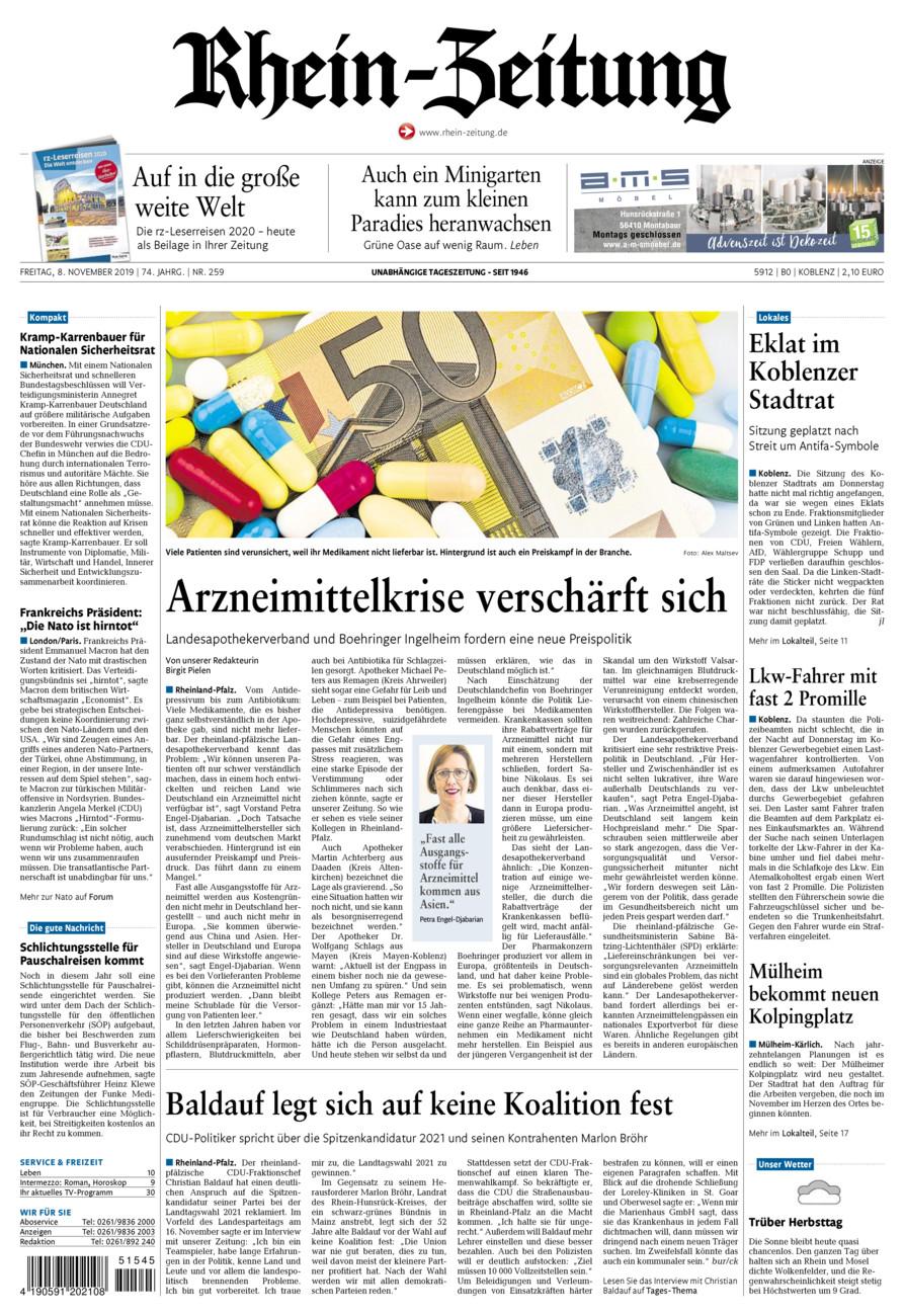 Rhein-Zeitung Koblenz & Region vom Freitag, 08.11.2019