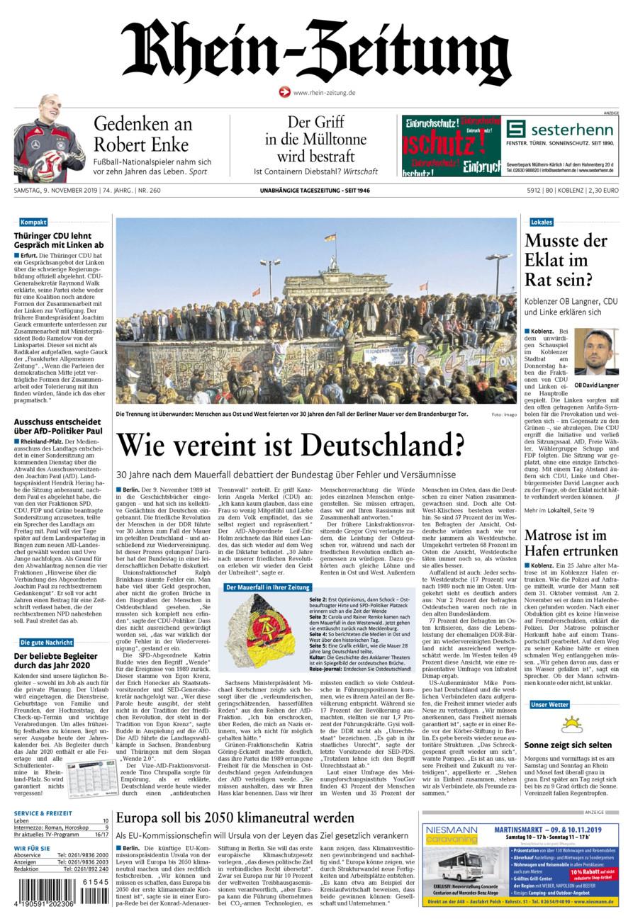 Rhein-Zeitung Koblenz & Region vom Samstag, 09.11.2019