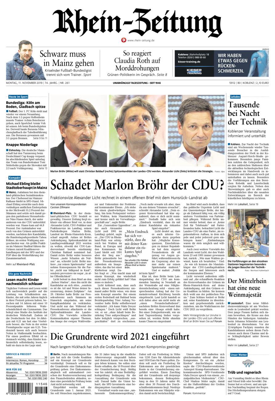 Rhein-Zeitung Koblenz & Region vom Montag, 11.11.2019