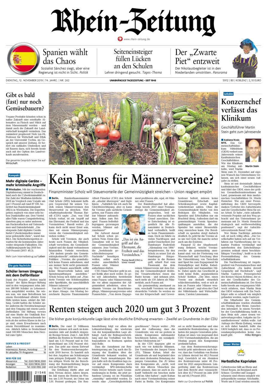Rhein-Zeitung Koblenz & Region vom Dienstag, 12.11.2019