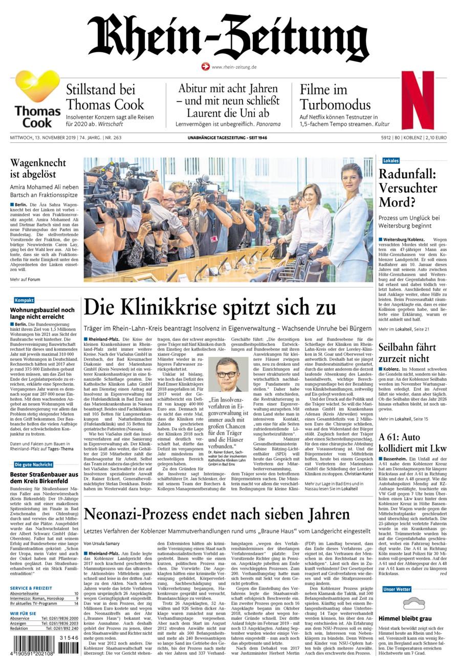 Rhein-Zeitung Koblenz & Region vom Mittwoch, 13.11.2019