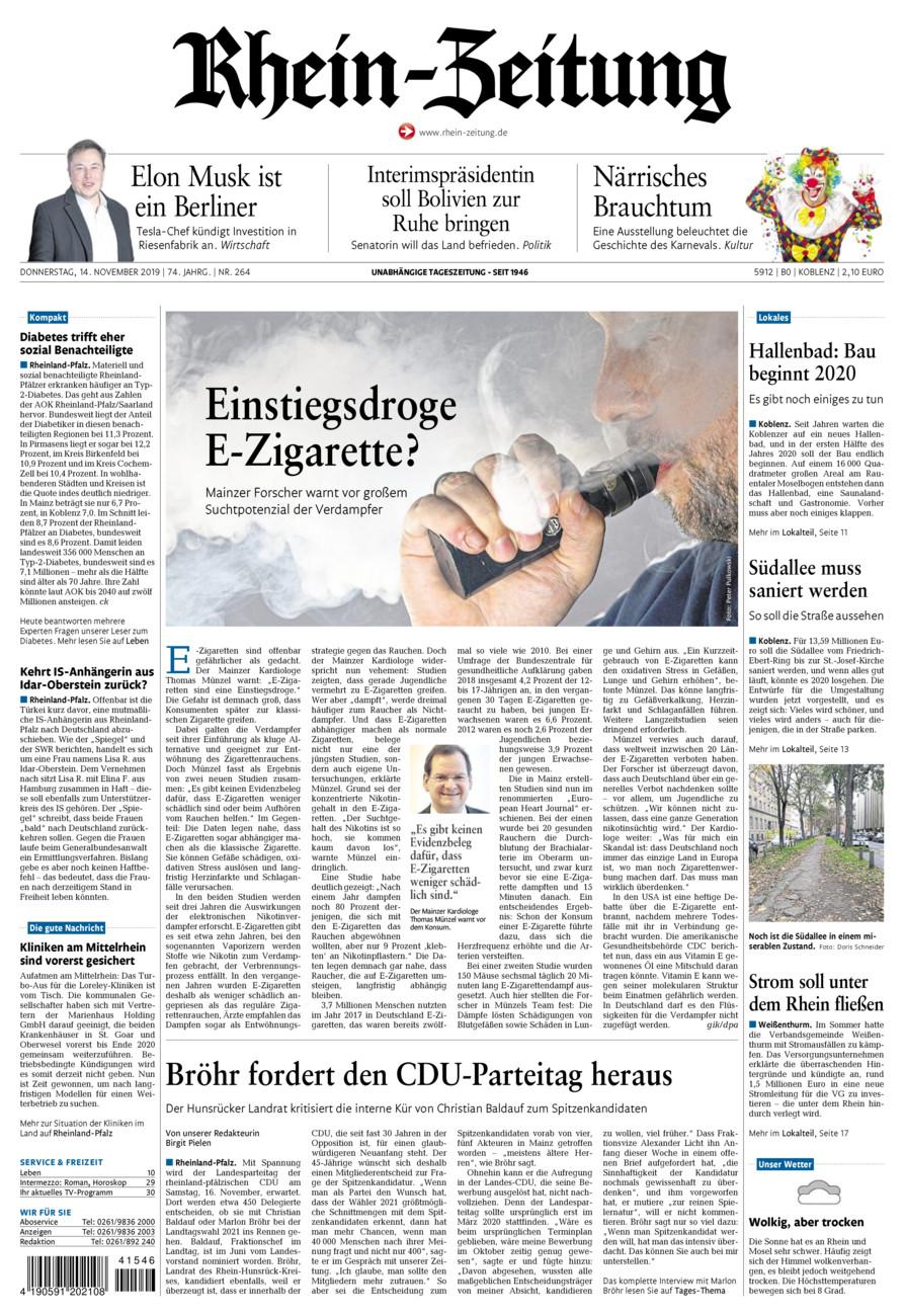 Rhein-Zeitung Koblenz & Region vom Donnerstag, 14.11.2019