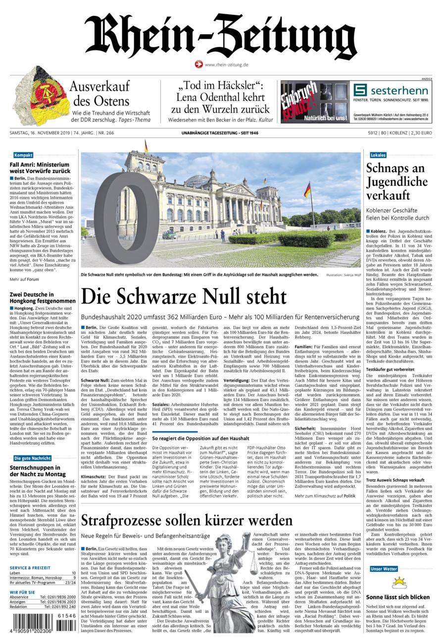 Rhein-Zeitung Koblenz & Region vom Samstag, 16.11.2019