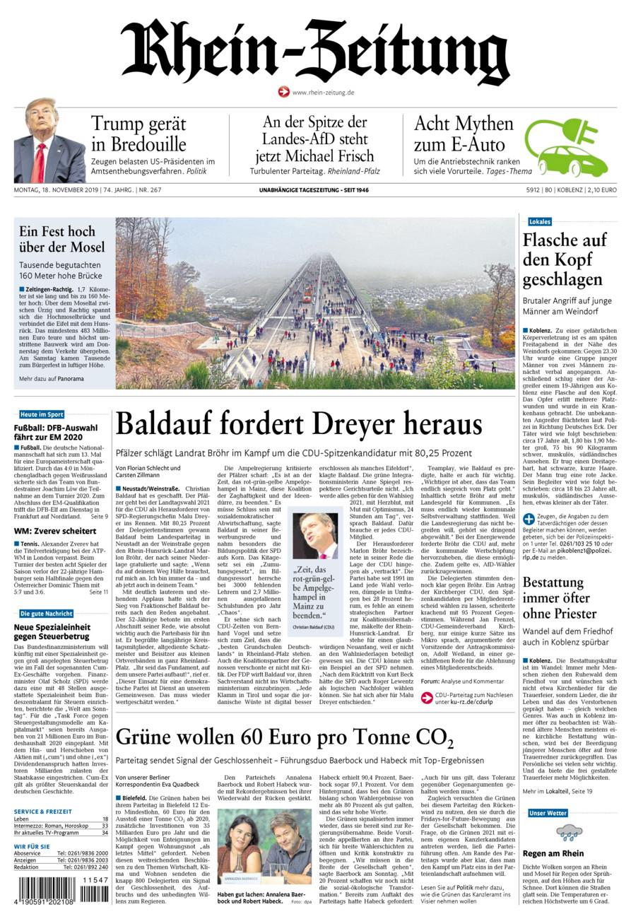 Rhein-Zeitung Koblenz & Region vom Montag, 18.11.2019