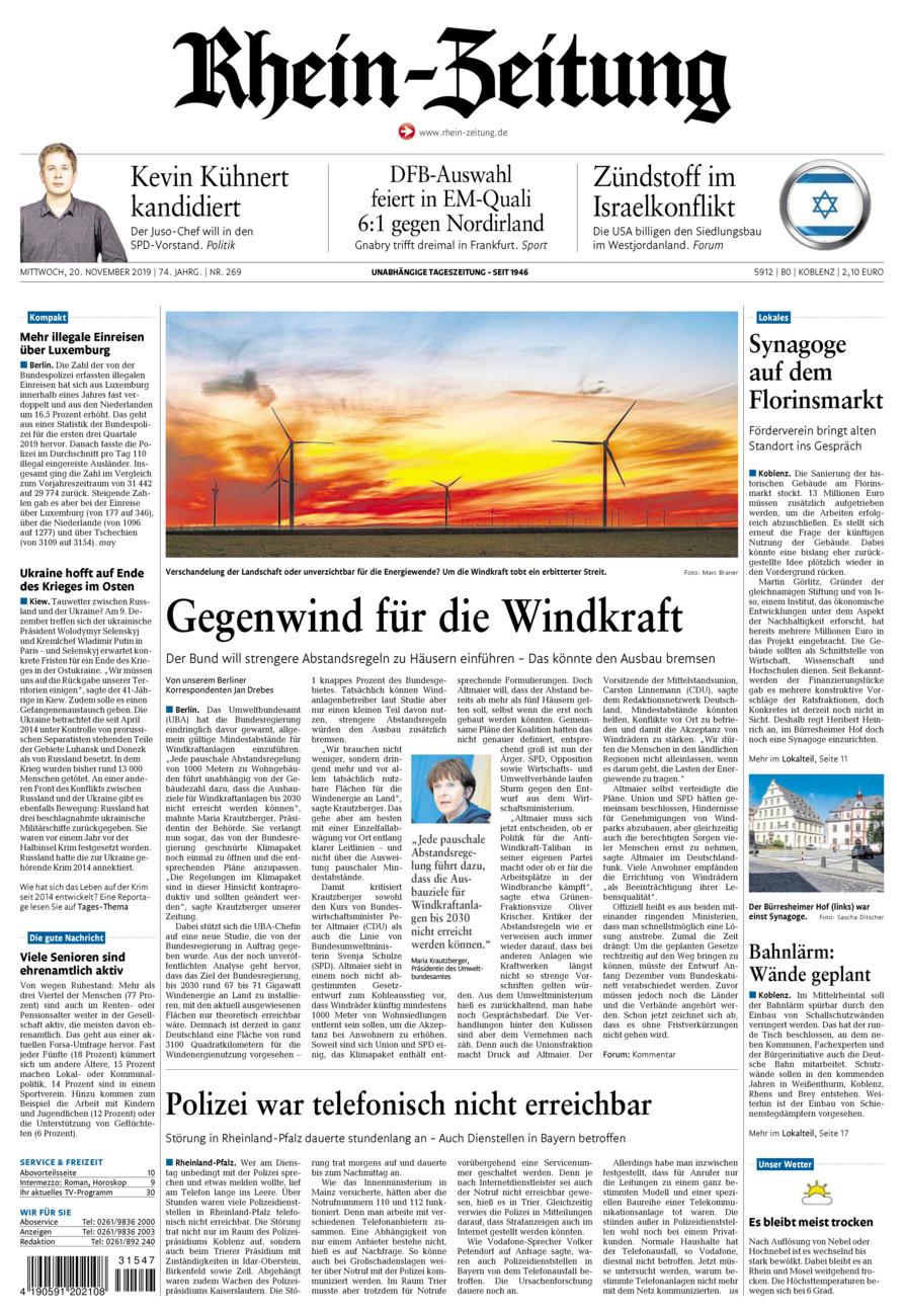 Rhein-Zeitung Koblenz & Region vom Mittwoch, 20.11.2019