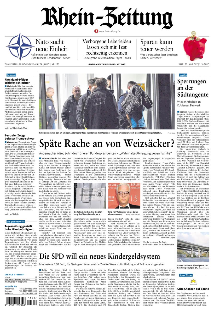 Rhein-Zeitung Koblenz & Region vom Donnerstag, 21.11.2019