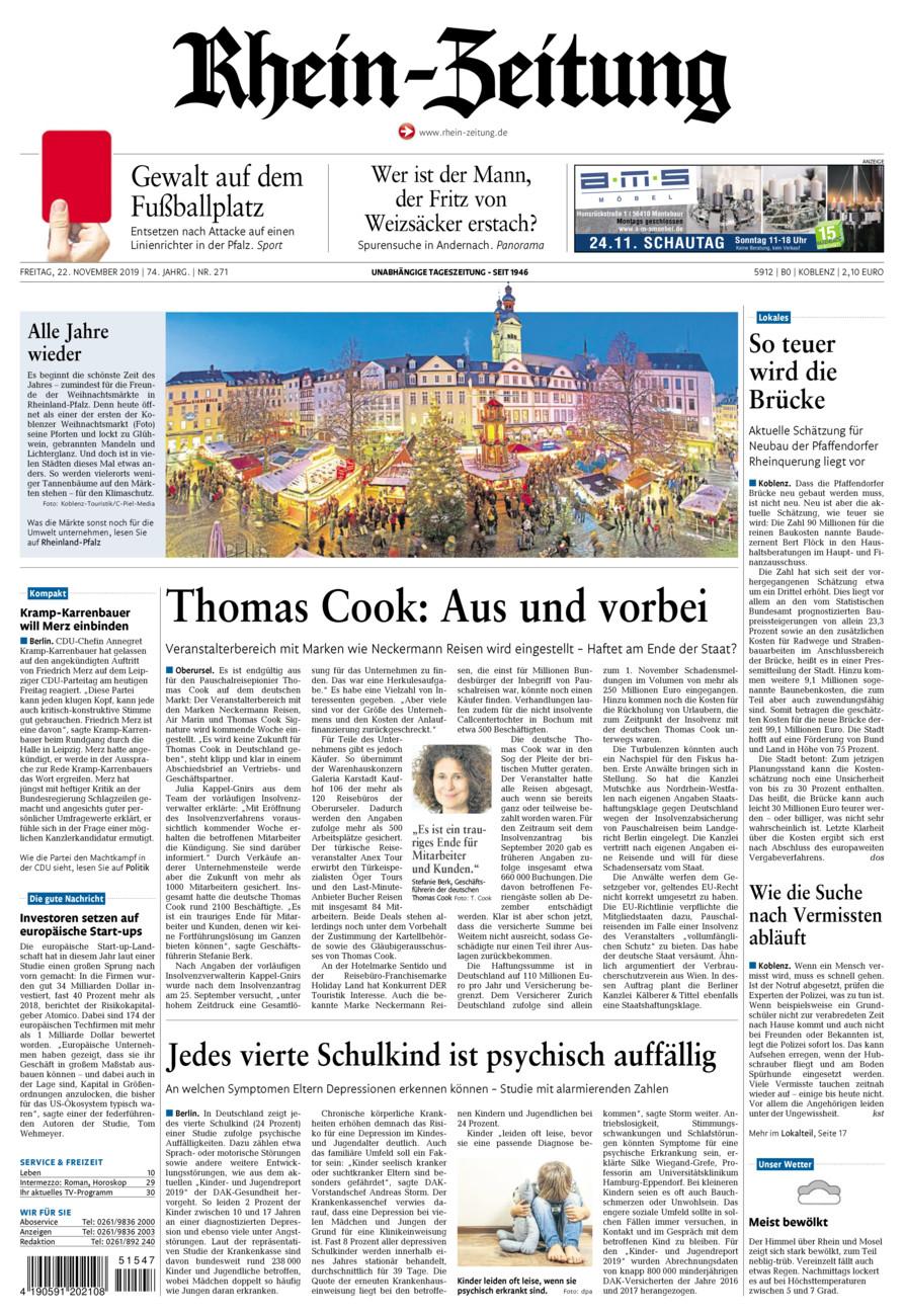 Rhein-Zeitung Koblenz & Region vom Freitag, 22.11.2019