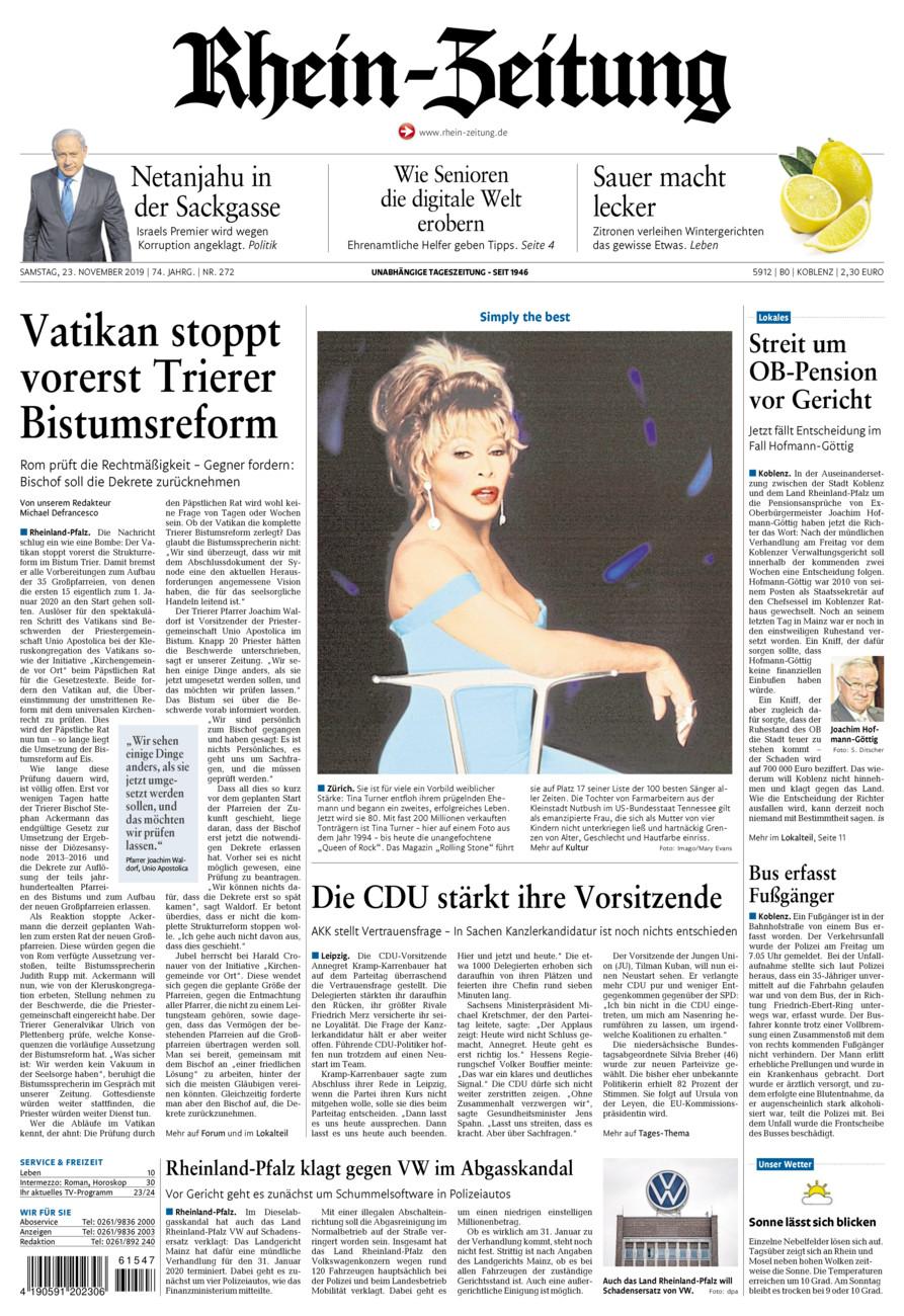 Rhein-Zeitung Koblenz & Region vom Samstag, 23.11.2019