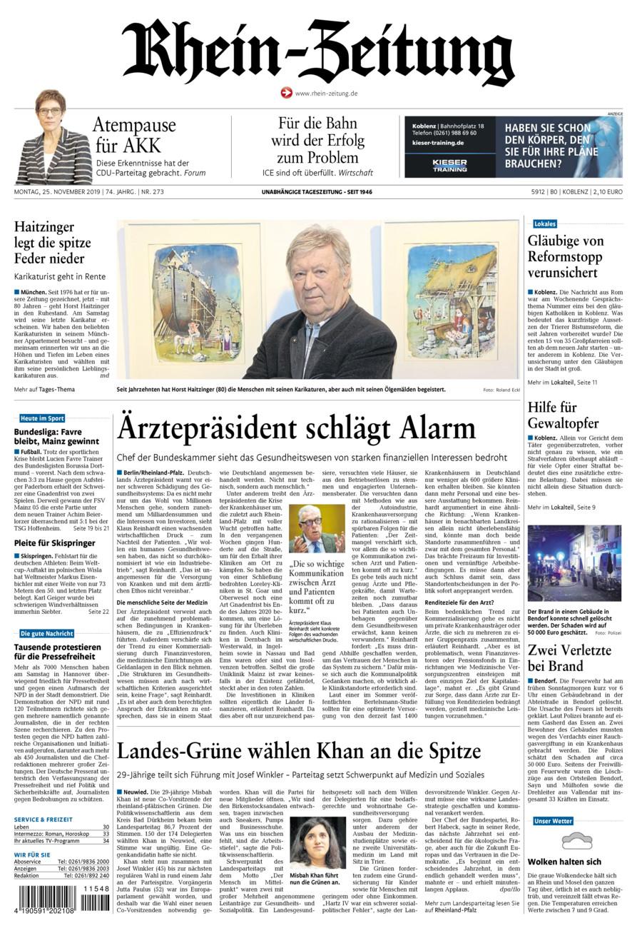 Rhein-Zeitung Koblenz & Region vom Montag, 25.11.2019