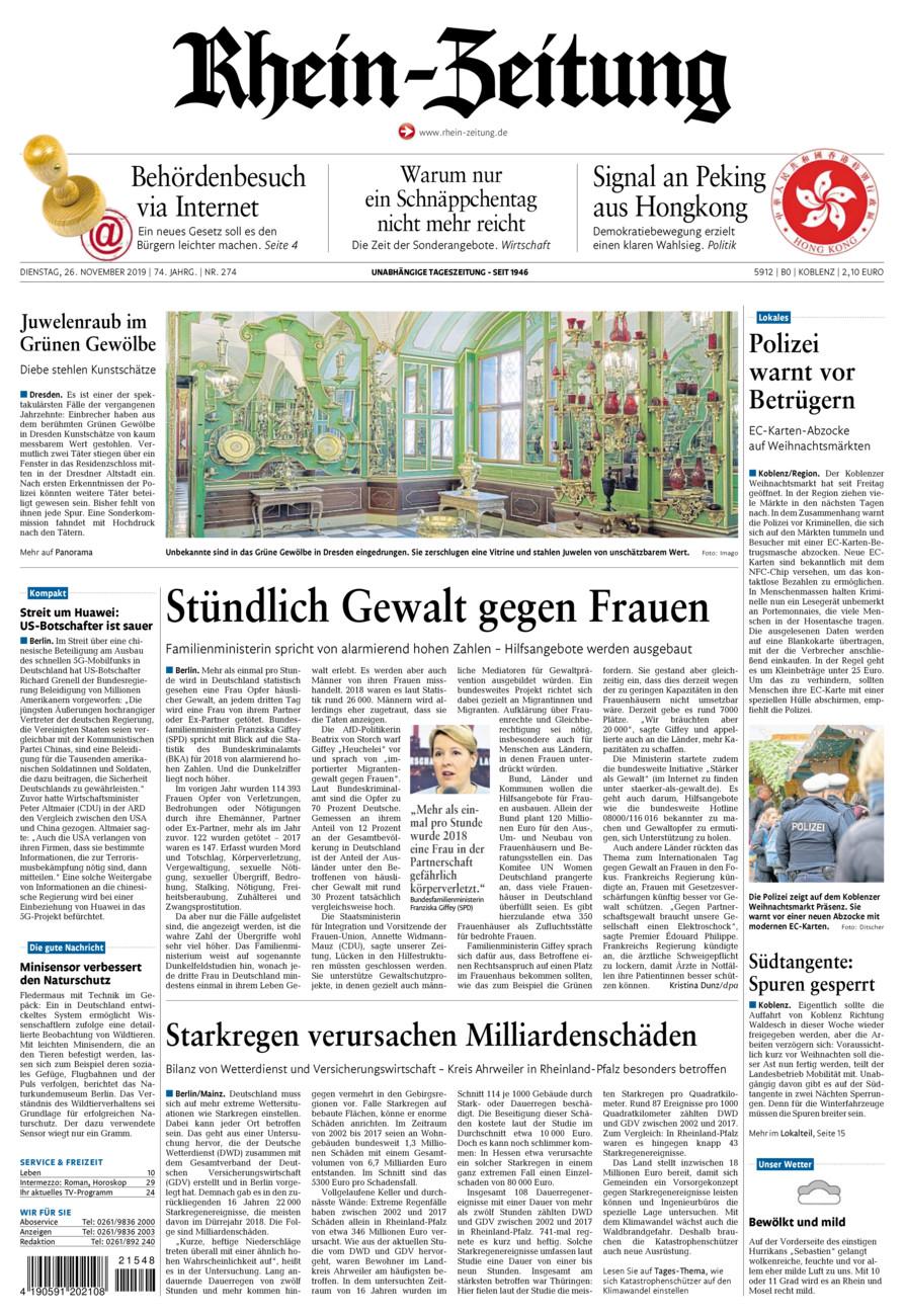 Rhein-Zeitung Koblenz & Region vom Dienstag, 26.11.2019