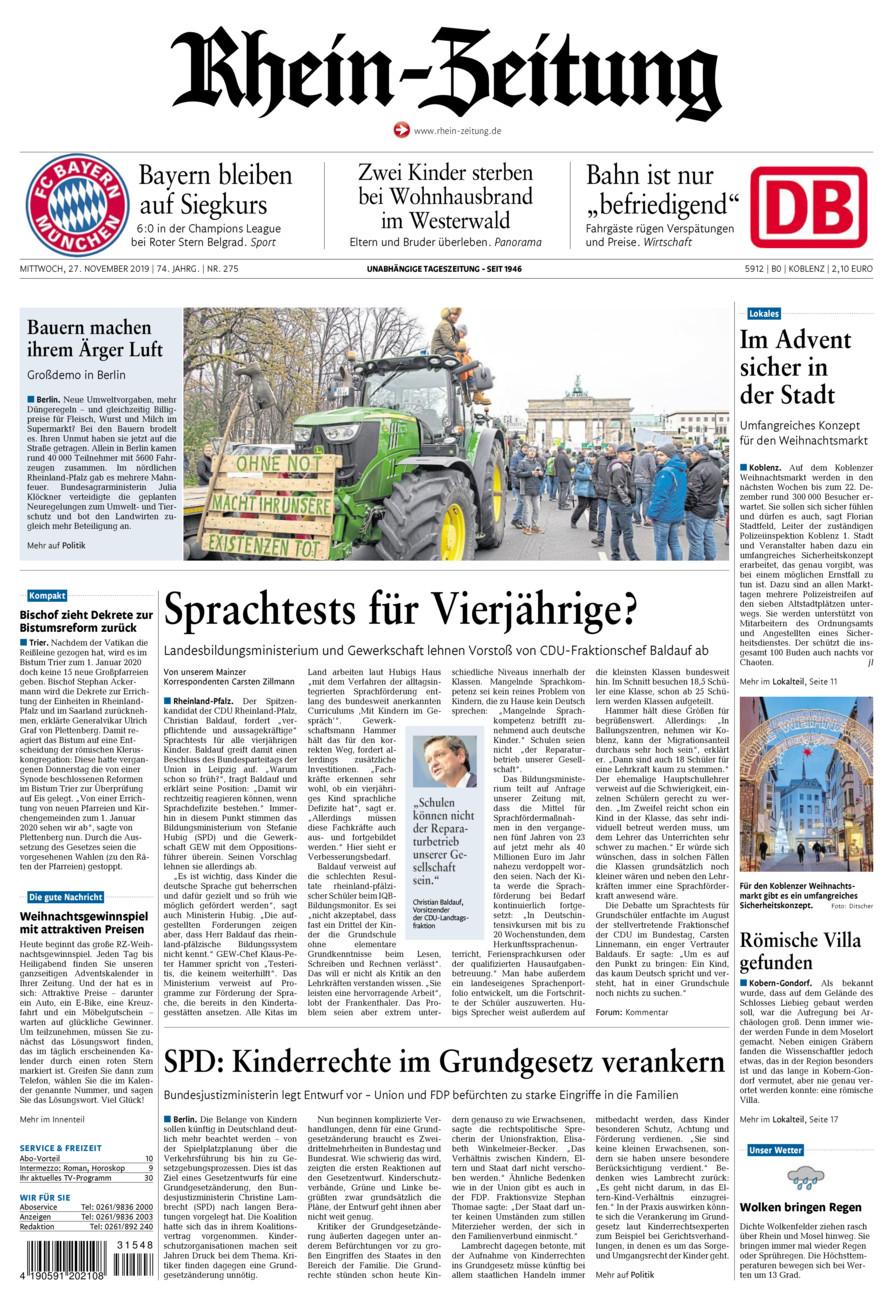 Rhein-Zeitung Koblenz & Region vom Mittwoch, 27.11.2019
