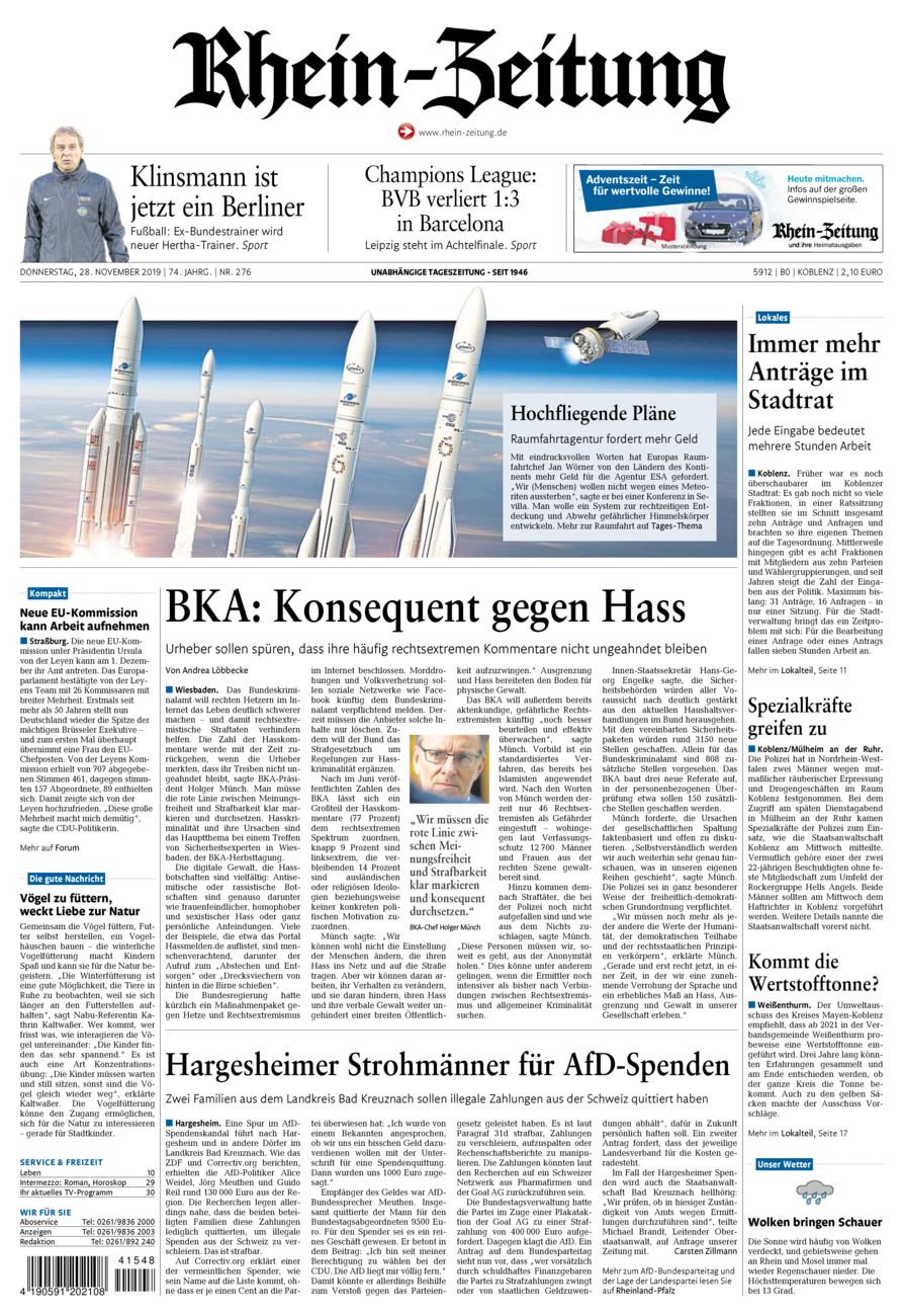 Rhein-Zeitung Koblenz & Region vom Donnerstag, 28.11.2019