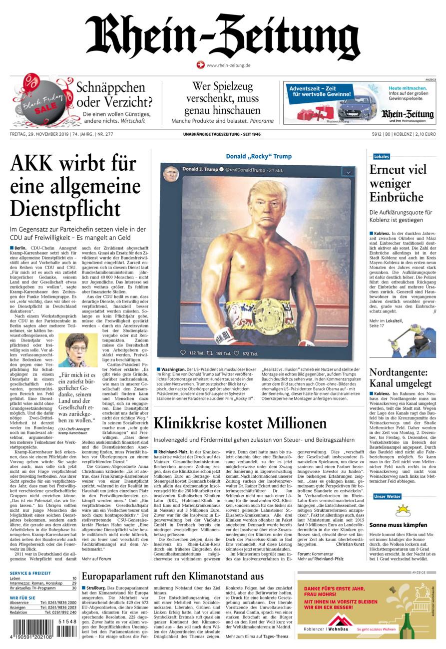 Rhein-Zeitung Koblenz & Region vom Freitag, 29.11.2019