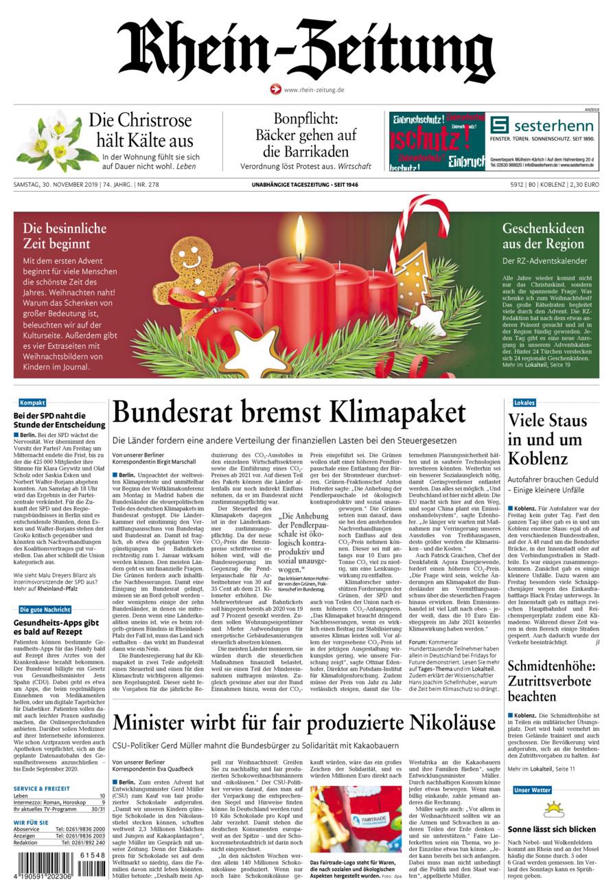 Rhein-Zeitung Koblenz & Region vom Samstag, 30.11.2019