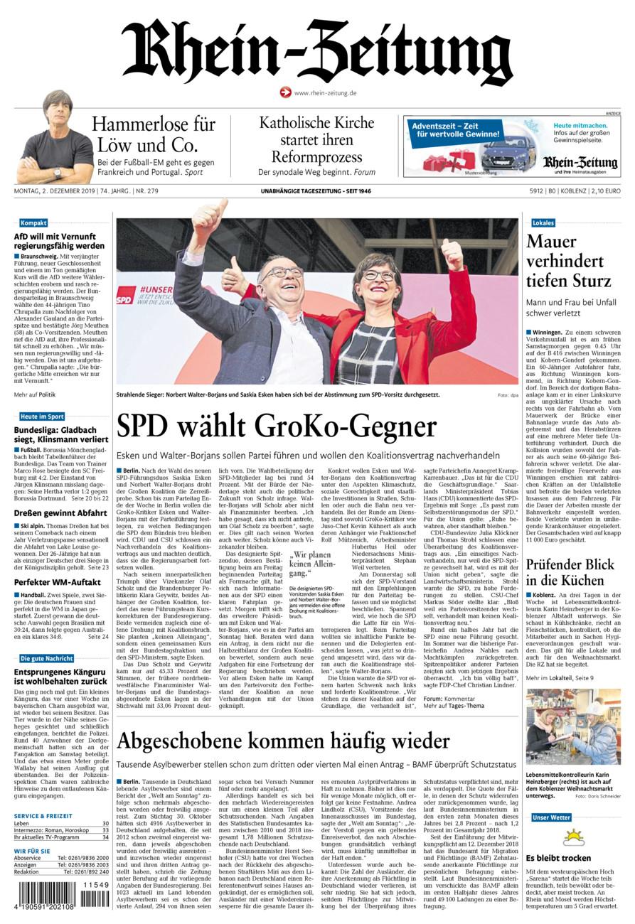 Rhein-Zeitung Koblenz & Region vom Montag, 02.12.2019