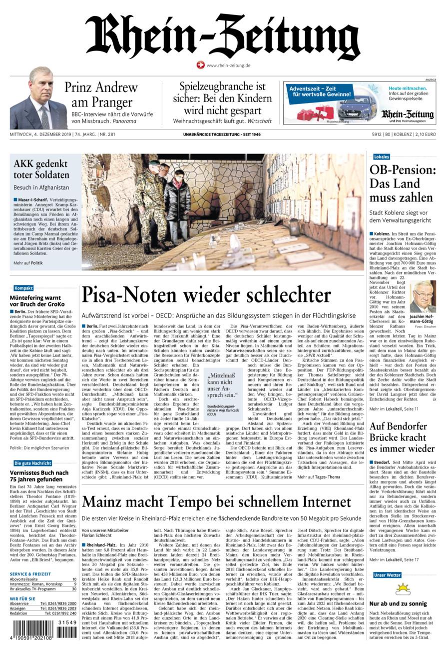 Rhein-Zeitung Koblenz & Region vom Mittwoch, 04.12.2019
