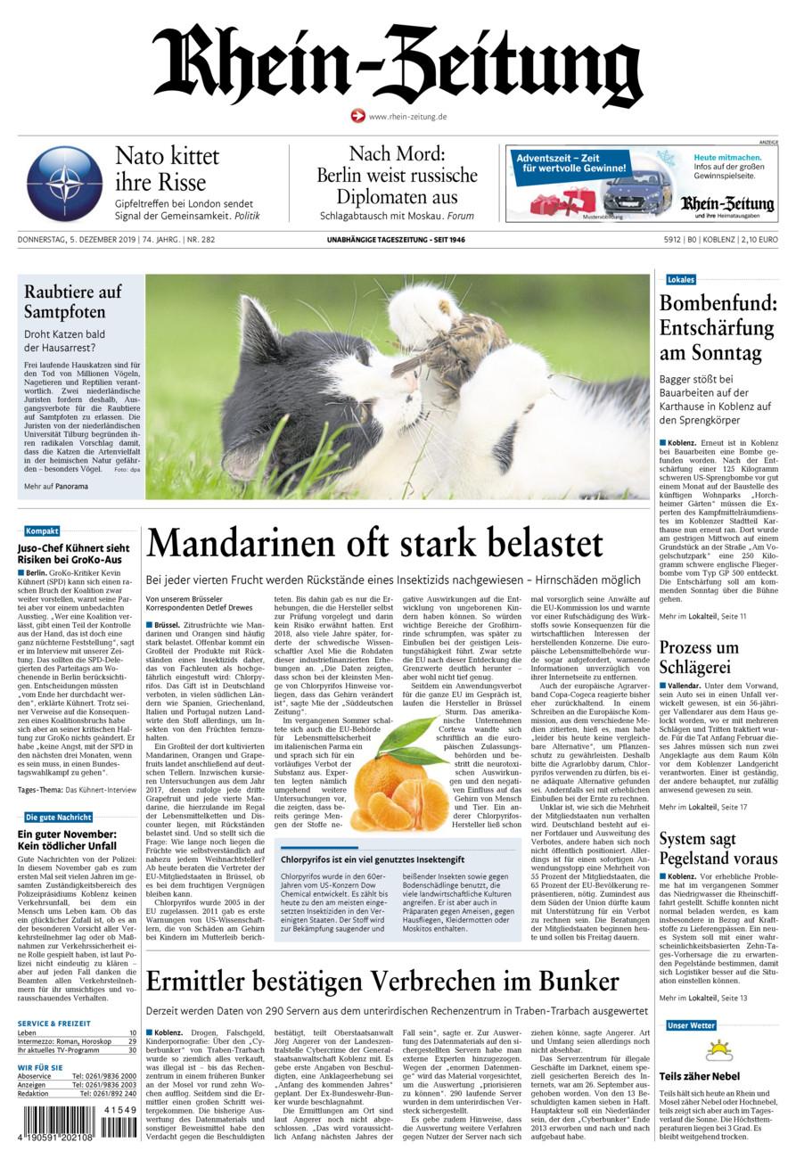 Rhein-Zeitung Koblenz & Region vom Donnerstag, 05.12.2019