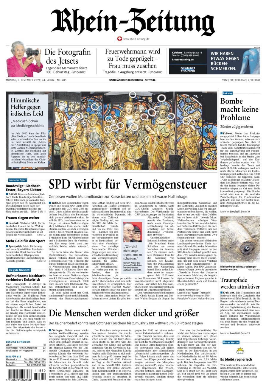 Rhein-Zeitung Koblenz & Region vom Montag, 09.12.2019