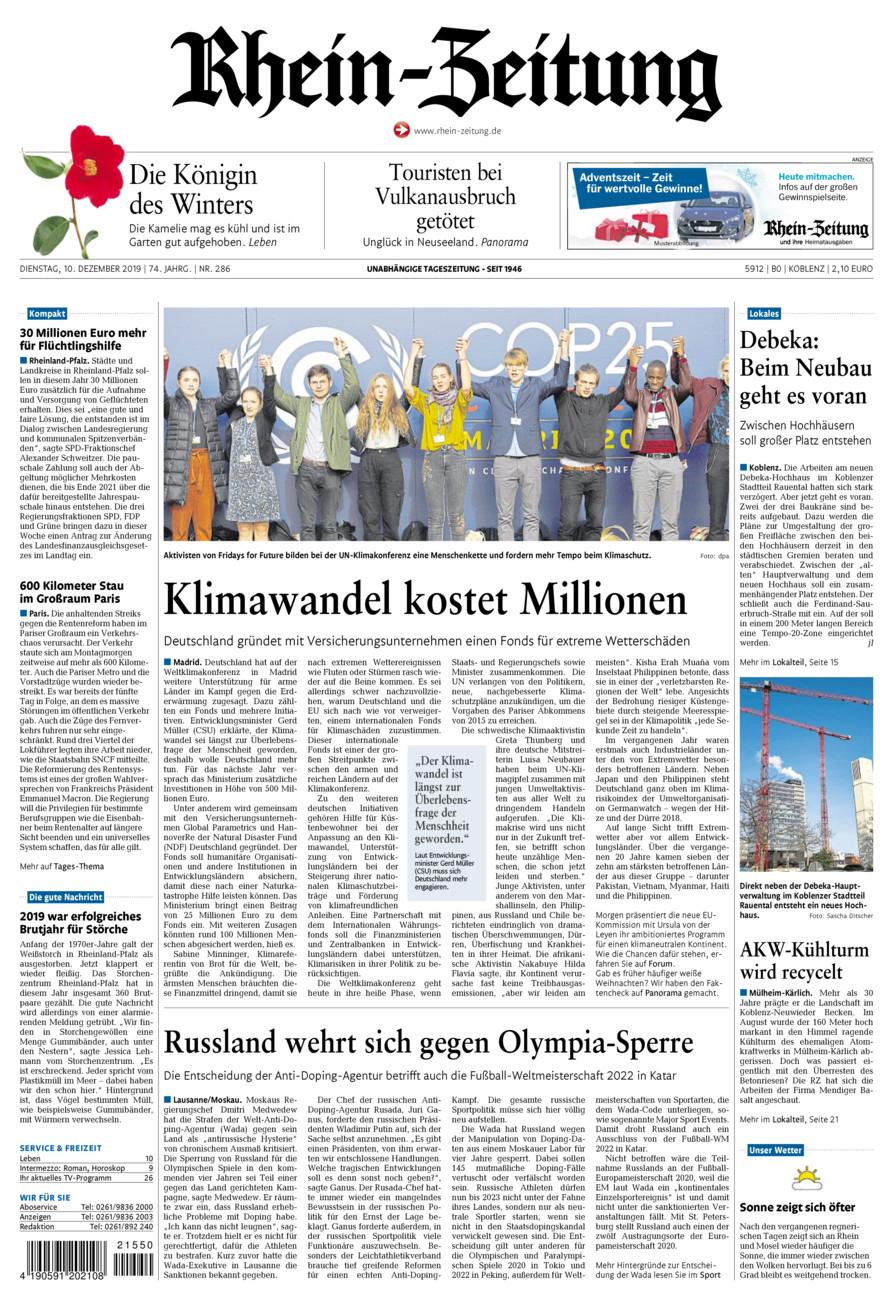 Rhein-Zeitung Koblenz & Region vom Dienstag, 10.12.2019