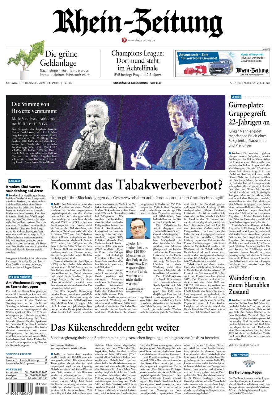 Rhein-Zeitung Koblenz & Region vom Mittwoch, 11.12.2019