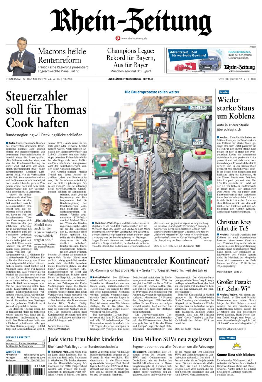 Rhein-Zeitung Koblenz & Region vom Donnerstag, 12.12.2019