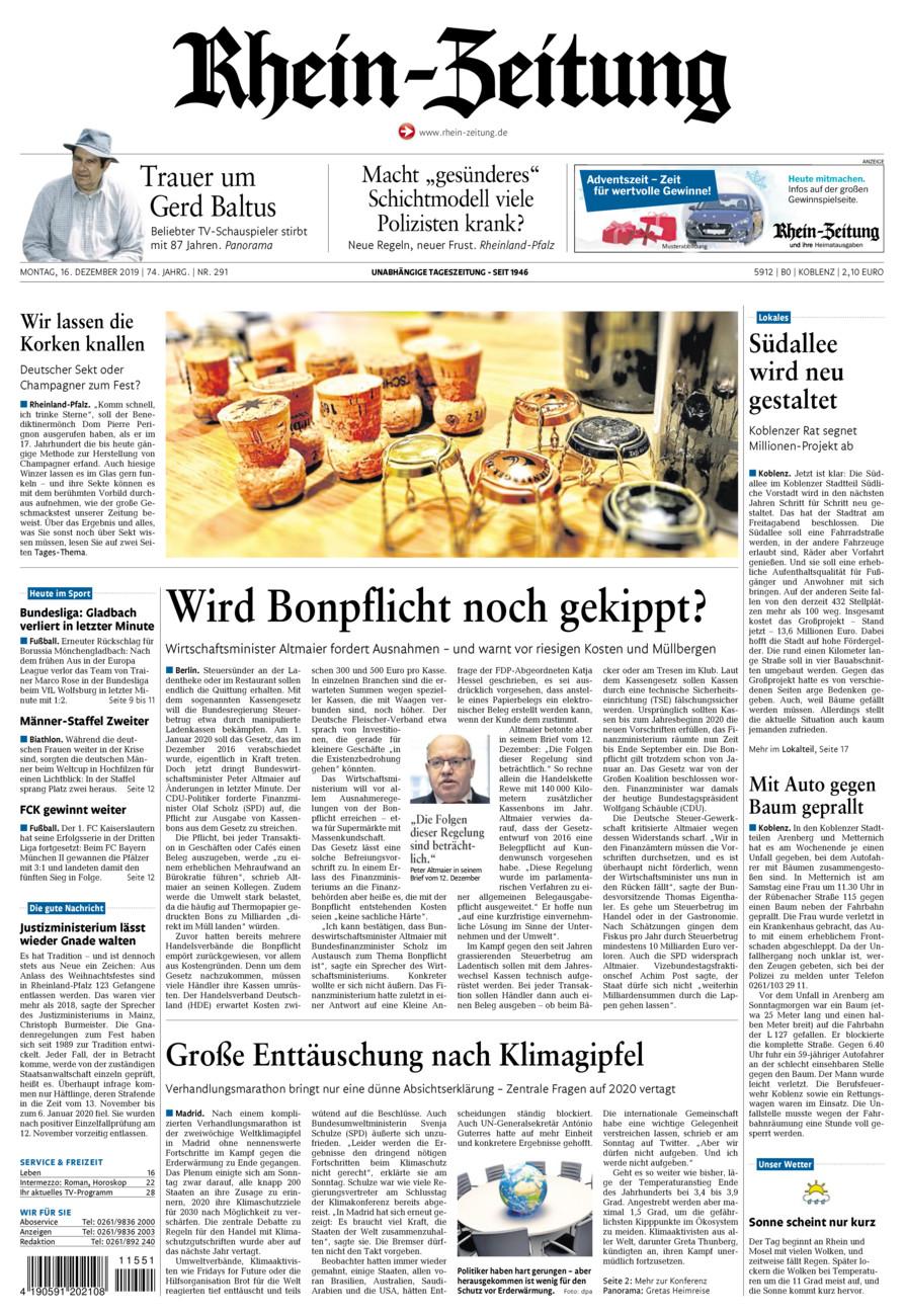 Rhein-Zeitung Koblenz & Region vom Montag, 16.12.2019