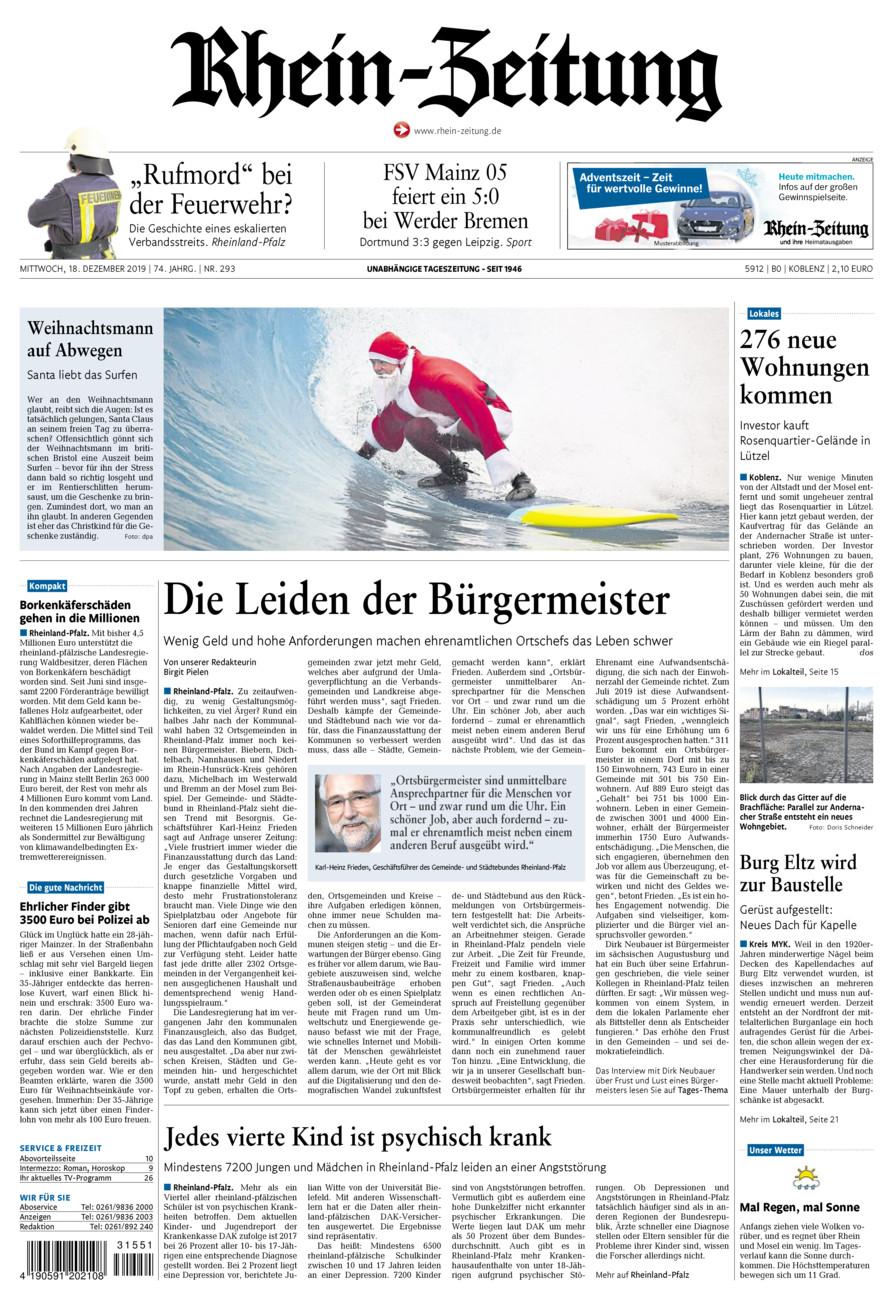 Rhein-Zeitung Koblenz & Region vom Mittwoch, 18.12.2019