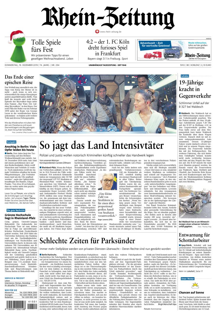 Rhein-Zeitung Koblenz & Region vom Donnerstag, 19.12.2019
