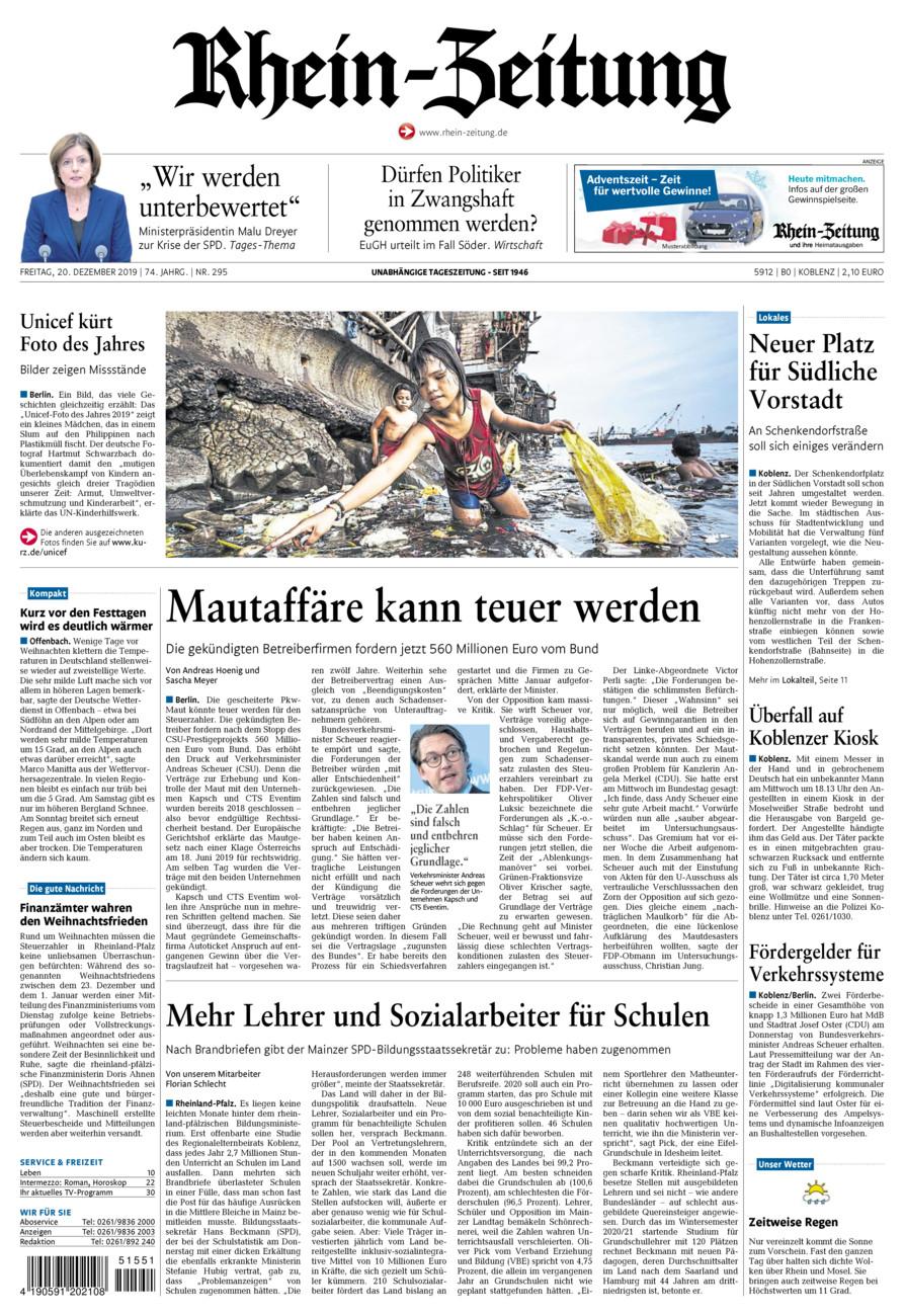 Rhein-Zeitung Koblenz & Region vom Freitag, 20.12.2019