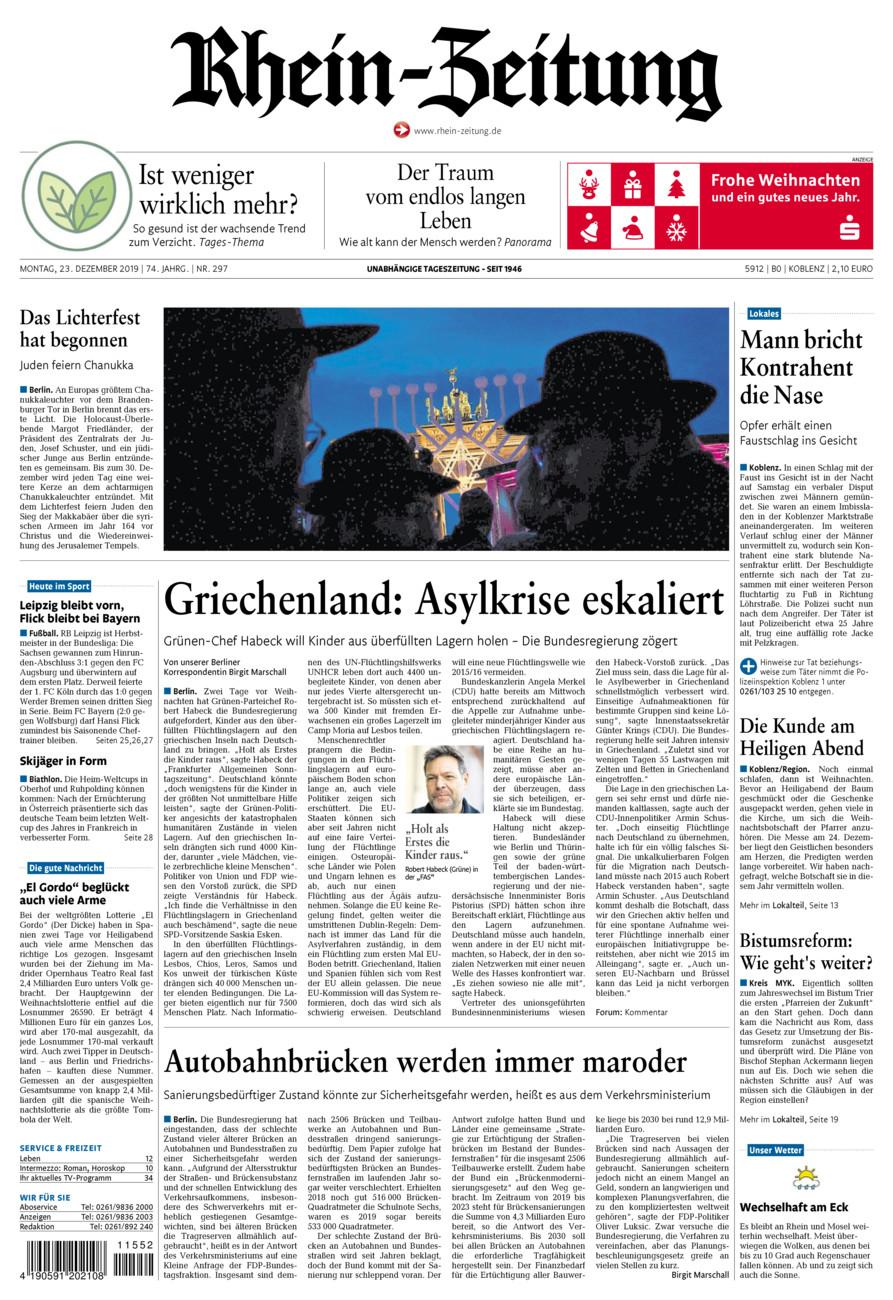 Rhein-Zeitung Koblenz & Region vom Montag, 23.12.2019